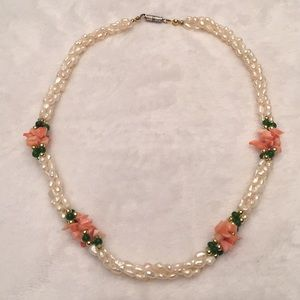 Costume pearl and coral choker necklace